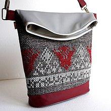 "Veľké tašky - vyšívaná kabelka ""Vínové kvety"" - 8577025_"