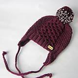 Detské čiapky - Zľava z 11,90 - Pletená čiapka s brmbolcom baklažánová - 8577007_