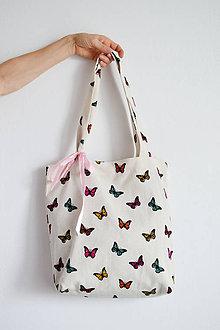 Nákupné tašky - Taška plná motýľov - 8580164_