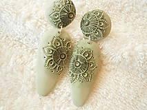 Náušnice - Náušnice z polyméru, čipka zelená - 8577206_