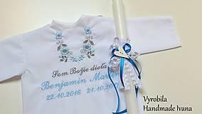 Košieľka na krst K14 modro-šedá + sviečka na krst