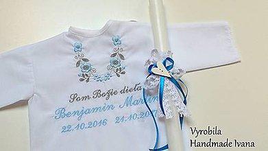 Detské oblečenie - Košieľka na krst K14 modro-šedá + Sviečka na krst biele srdiečko - 8578647_
