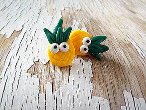 Náušnice - ananás - napichovačky - 8580320_