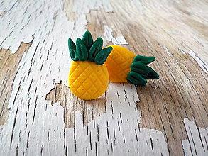Náušnice - ananás - napichovačky (ananásy) - 8580324_