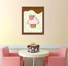 Grafika - Sladká stracciatella grafika (jahodový muffin) - 8578947_