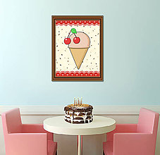 Grafika - Sladká stracciatella grafika - čerešňová zmrzlina - 8579372_