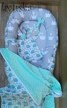 Textil - Velký darček do pôrodnice mentolový ježko - 8582217_