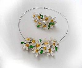 Sady šperkov - set -margaretky, náhrdelník a náramok - 8583959_