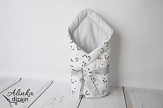 Textil - Zavinovačka sivo-biela s pandami - 8581296_