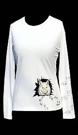 Tričká - Ručne maľované tričko-Biela myška-skladom L - 8581237_