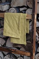 Iné oblečenie - ľanová zástera III. zlatá + utierky - 8581314_