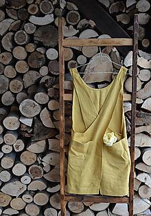 Iné oblečenie - ľanová zástera zlatá + 2 ks utierky - 8581312_