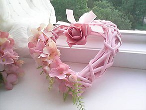 "Dekorácie - Veniec srdiečko ""...ružové srdiečko..."" - 8581782_"