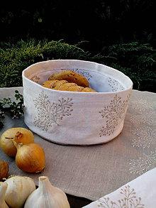 Úžitkový textil - Ľanový košík s výšivkou - 8583542_