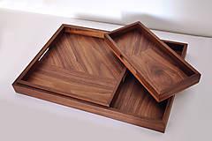 Nádoby - SOLID /Set 3 podnosov z orechového dreva/ - 8581192_