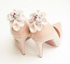Obuv - Elegancia a la Chanel - ivory (slonovinové) klipy na topánky s folklórnou mašľou - 8581392_
