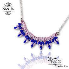 Náhrdelníky - Náhrdelník: Girlanda (Ag 925) (Modro-ružový) - 8581807_