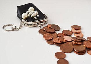 Kľúčenky - Miniatúrna taštička s perlami - 8583359_