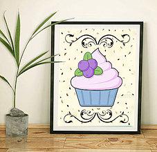 Grafika - Sladká stracciatella grafika - čučoriedkový muffin - 8582226_