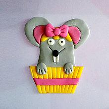 Magnetky - Okydaná zver s mašľou - myš NA ZÁKAZKU - 8584011_