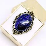 Vintage Bronze Lapis Lazuli Ring / Výrazný prsteň s lazuritom v bronzovom prevedení /0487
