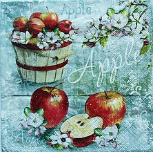 Papier - S1047 - Servítky - apple, jablko, jabĺčko, vedro, kvet, kvitnúca, puk - 8584240_