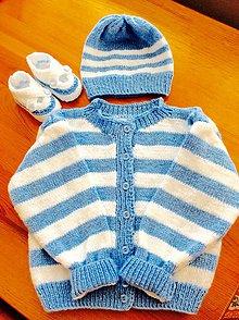 Detské súpravy - pletená súprava modro-biela - 8585684_