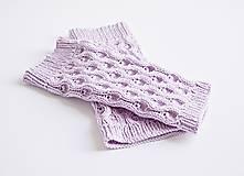 Topánočky - Pletené detské štucne - fialové - 8585350_