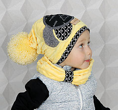 Detské čiapky - žltý setík - 8584447_