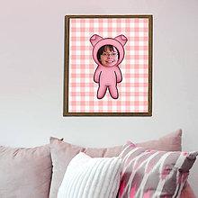 Grafika - Zvierací kostým - prasiatko a kárované pozadie (grafika) - 8585407_