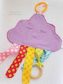 Hračky - Minky Mráčik fialový s dreveným aj plastovým hrýzatkom pre bábätko - 8588388_
