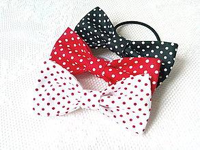 Ozdoby do vlasov - Mini Pin Up hair bows (white/red/black + mini white/red dots) - 8586827_