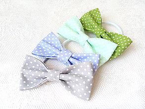 Ozdoby do vlasov - Mini Pin Up hair bows (grey/baby blue/mint/green + mini white dots) - 8586864_
