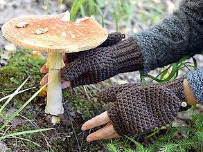 Rukavice - Zaklápacie rukavice: hnedá - 8589700_