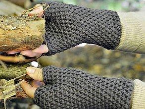 Rukavice - Bezprstové rukavice: hnedá - 8589779_