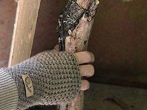 Rukavice - Bezprstové rukavice: béžová - 8589805_