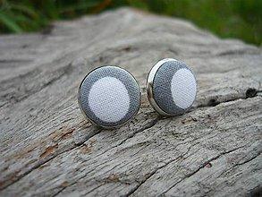 Náušnice - Náušnice Buttonky Gray Dots - 8586878_