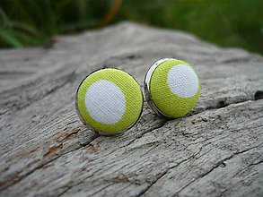 Náušnice - Náušnice Buttonky Green Dots - 8586885_