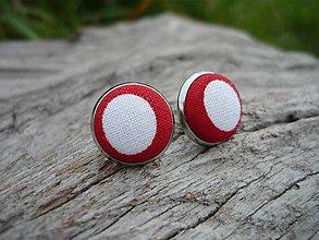 Náušnice - Náušnice Buttonky Red Dots - 8587917_