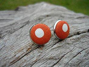 Náušnice - Náušnice Buttonky Orange Dots - 8588013_