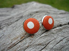 Náušnice - Náušnice Buttonky Orange Dots - 8588013_