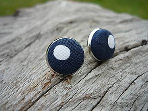 Náušnice - Náušnice Buttonky Dark Blue Dots - 8588035_