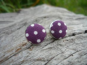 Náušnice - Náušnice Buttonky Purple Dots - 8588067_