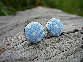 Náušnice - Náušnice Buttonky Light Blue Dots - 8588108_