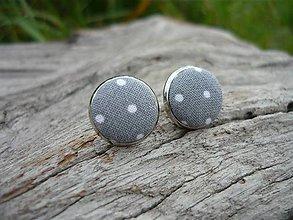 Náušnice - Náušnice Buttonky Gray Dots - 8588184_
