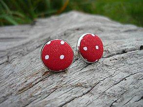 Náušnice - Náušnice Buttonky Red Dots - 8588219_