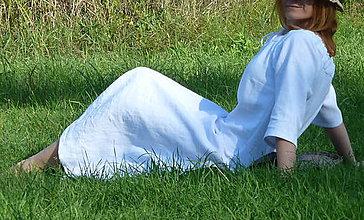 Šaty - Ľanové šaty biele - 8589734_