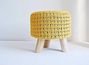Nábytok - Taburetka s pleteným poťahom (žltá) - 8588472_