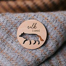 Odznaky/Brošne - vlk - brošňa s výrezom - 8589990_
