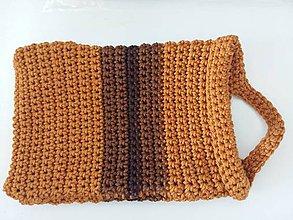 Úžitkový textil - Hnedé háčkované vrecko s uškom - 8587448_